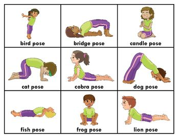 Yoga Poses Printable Posters Flashcards Coloring Pages Pocket Chart Cards Kids Yoga Poses Childrens Yoga Toddler Yoga