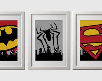 Superhero Wall Art Prints Wall Decor Set Of 3 By AmysDesignShoppe