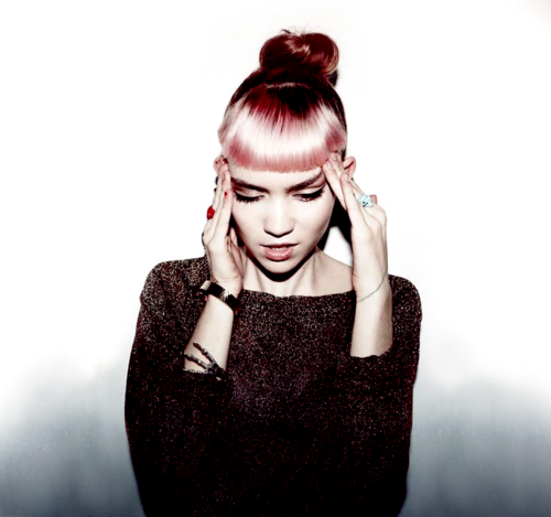 Picture Of Grimes Dyed Pink Red Hair Black Music Artists Top Music Artists Popular Music Artists