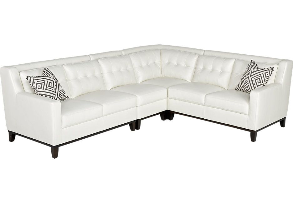 Reina White Leather 4 Pc Sectional Leather Living Rooms White
