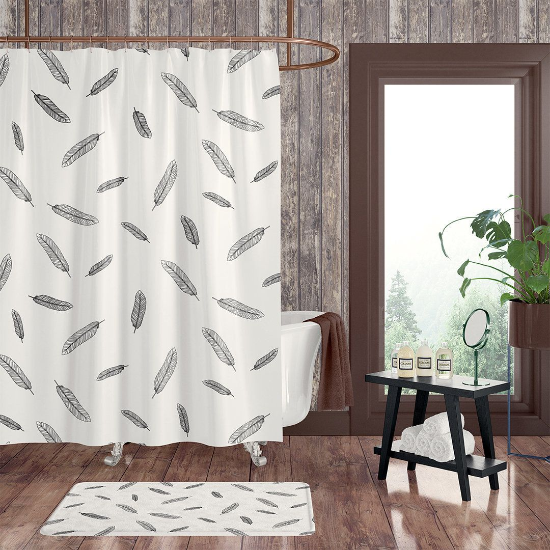 Bohemian Black And White Feather Shower Curtain Boho Chic Shower