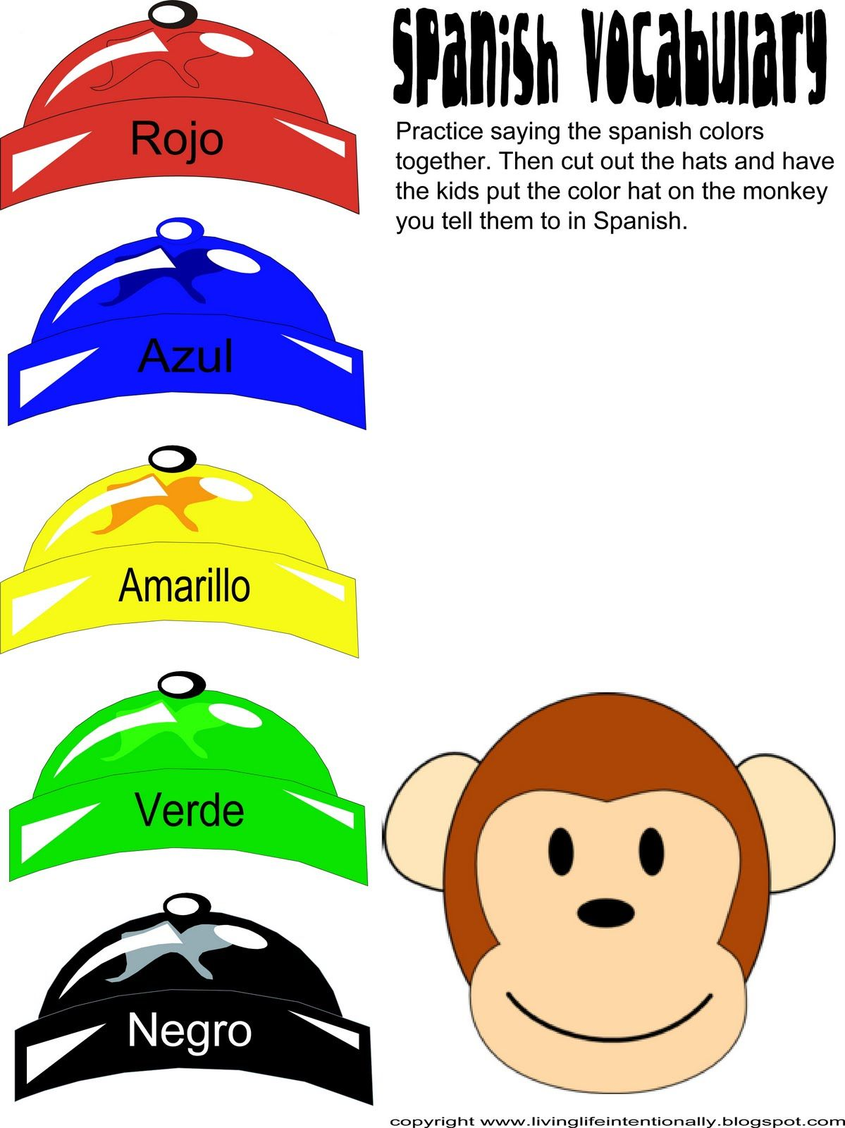 Spanish colors for preschool - Caps For Sale Unit Project Ideas Spanish Color Practice