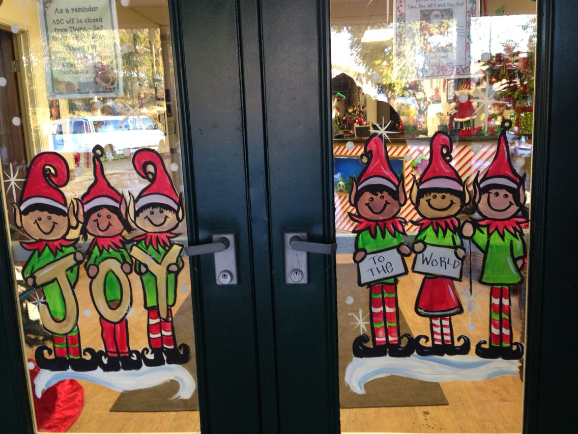 Elves Holiday Window Painting