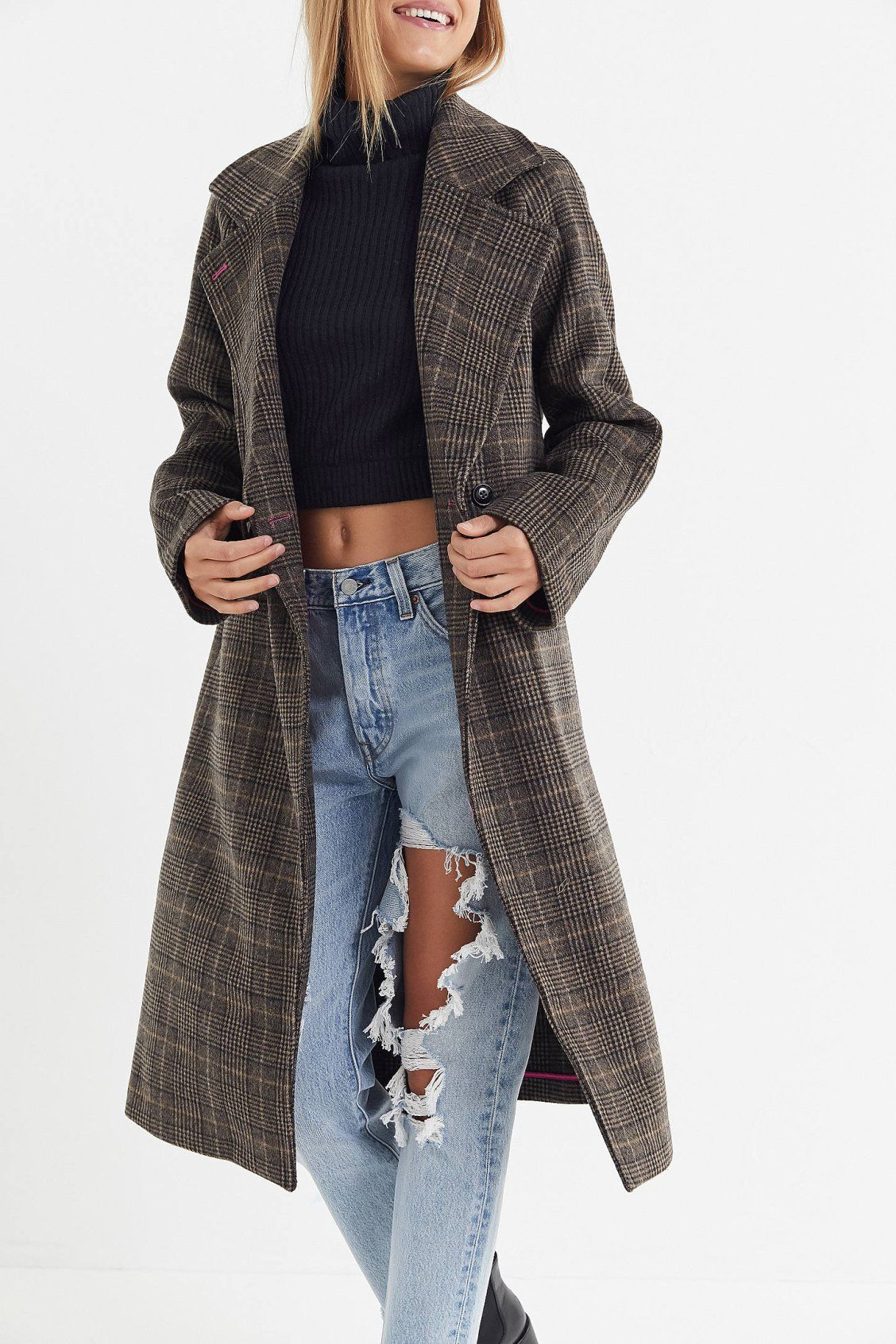 927b86d7a3e Avec Les Filles Plaid Wool Coat