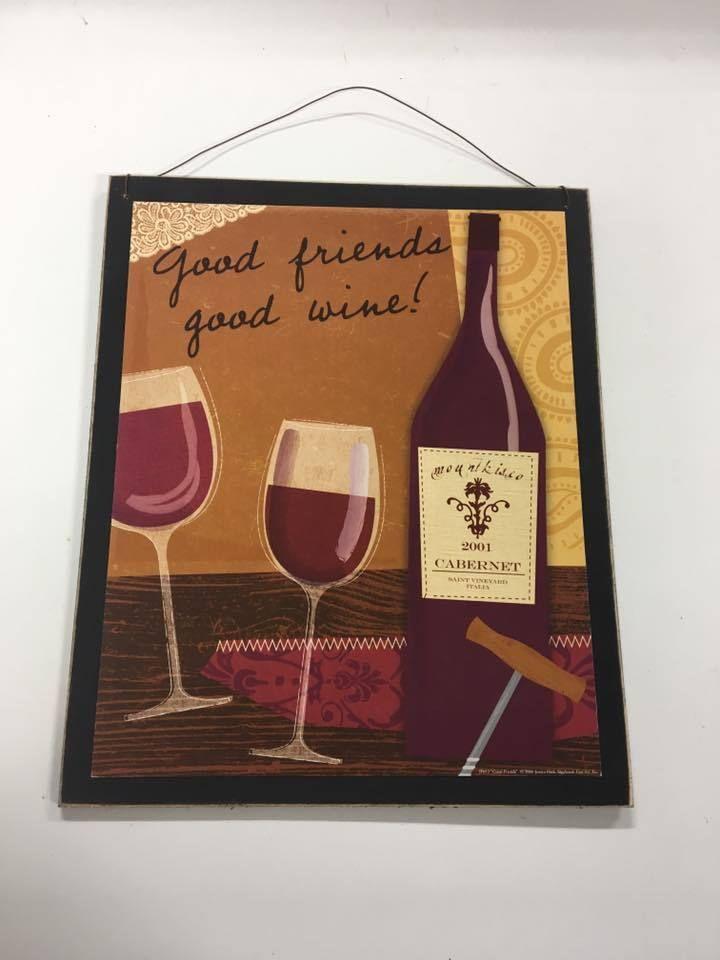 Good Friends Good Wine Bar Wood kitchen Wall Art Sign Drinking Pub ...