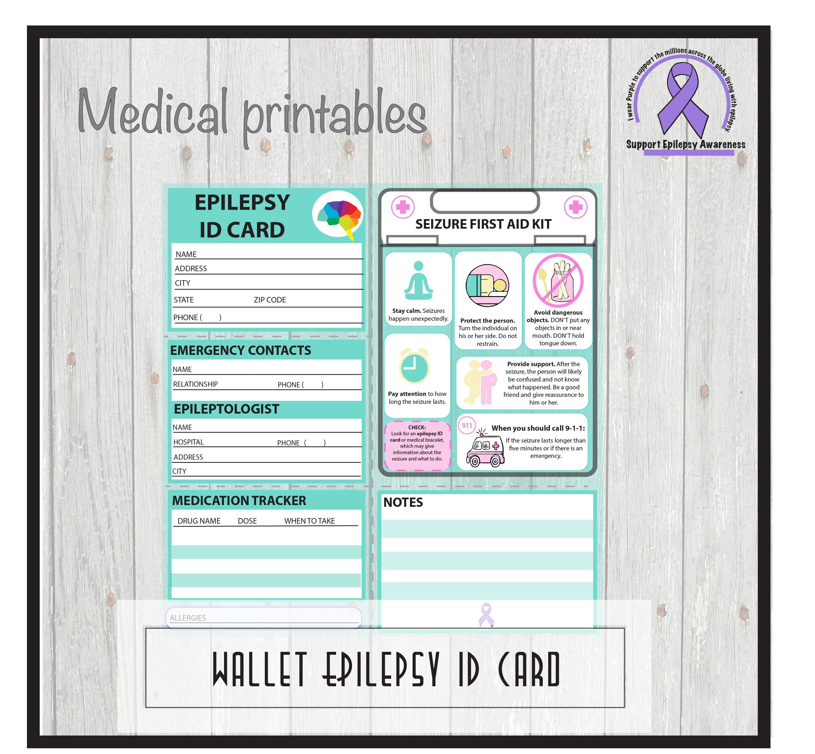 Epilepsy Medical Alert Id Card Pocket Wallet Id School
