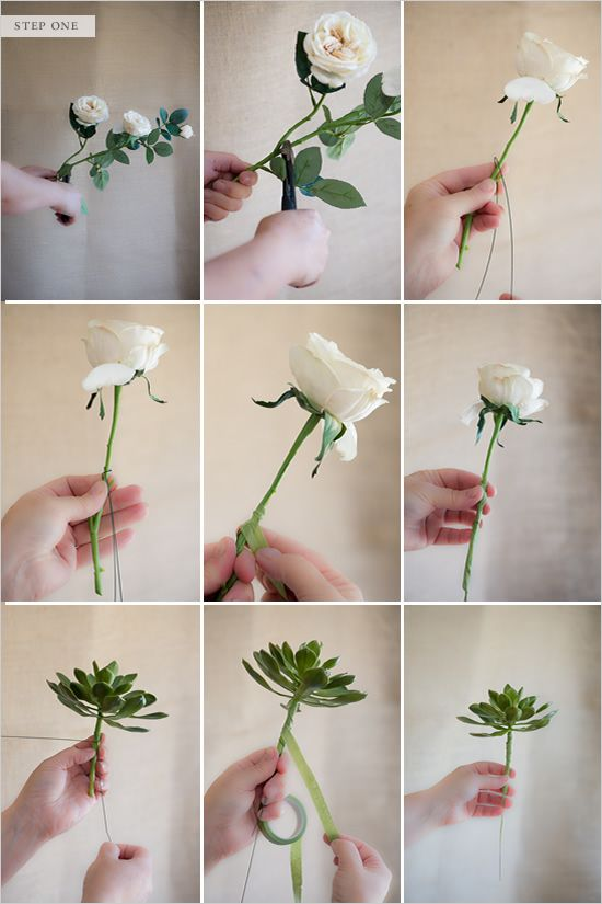 How To Make A Faux Flower Bridal Bouquet Diy Wedding Bouquet