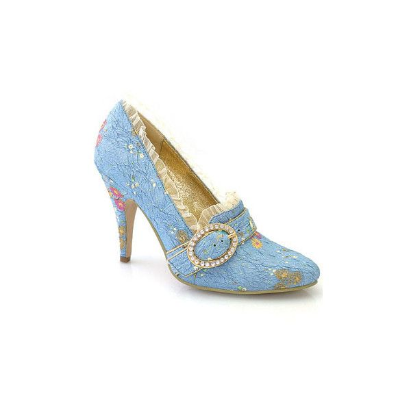 Marie Victorian Antoinette Costume Fabric Pumps and wide range of... ($9.99) ❤ liked on Polyvore featuring shoes, pumps, heels, blue, sapatos, vintage, blue heel pumps, blue shoes, vintage pumps and wide shoes