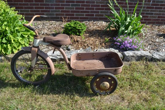Antique Tricycle Hettrick Pedal Wagon Photo Studio By Vintageabcs Garden Decor Photo Studio Garden Tools
