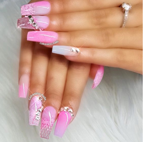 18 Trending Nails Designs For Chic Women 2019 Nail Art Pink Ombre Nails Posh Nails Bling Nails