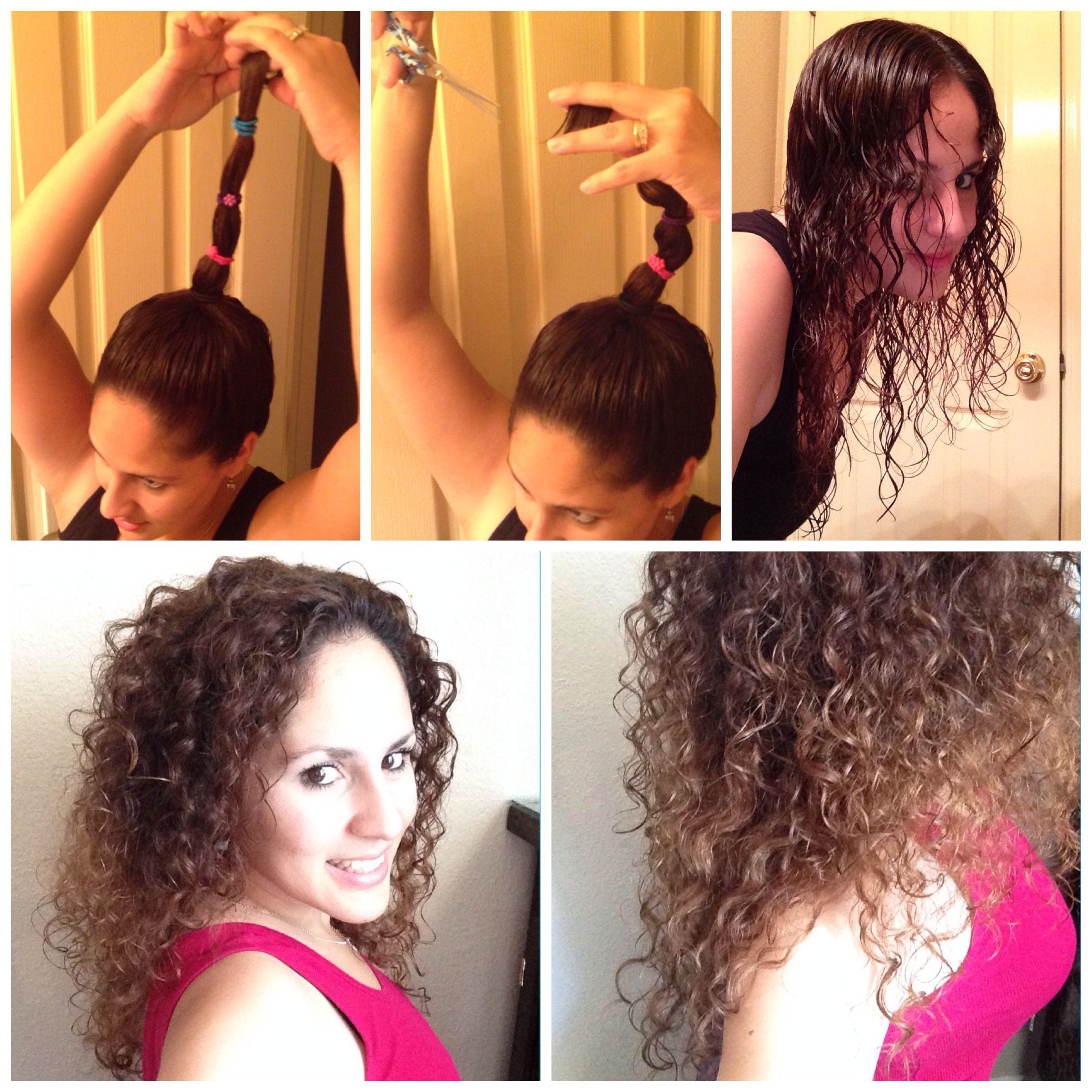 Como cortar tu cabello en capas/ How to layer your own hair. Con tu cabello recien lavado y con acondicionador, has una coleta alta, tan alta sea, mas capas largas. Ajustala con varias ligas, sosten firme y has un corte recto. Al soltarlo veras como queda escalonado. Deja secar y disfruta!