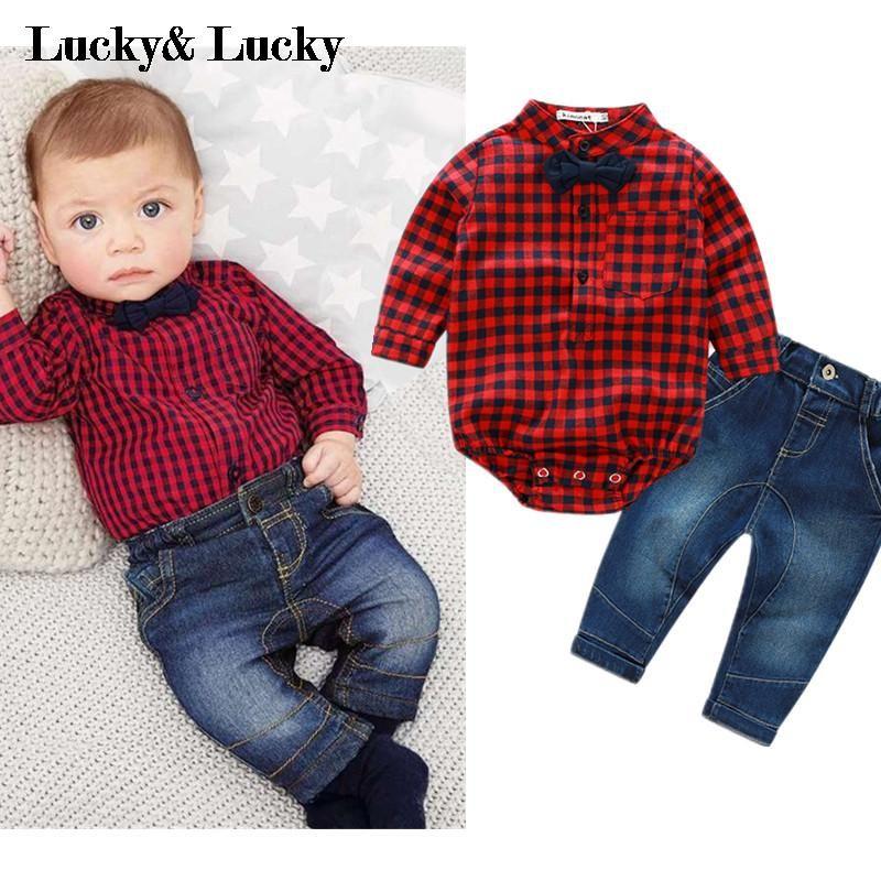 Barato 2016 novo macacão xadrez vermelho camisas + calça jeans meninos roupas de bebê conjunto de roupas de bebe, Compro Qualidade Conjuntos de roupas diretamente de fornecedores da China:  '  se sua ordem mais do que2 pcsa partir de nós  vai ter um pequeno presente surpresa a partir de China     nossa l