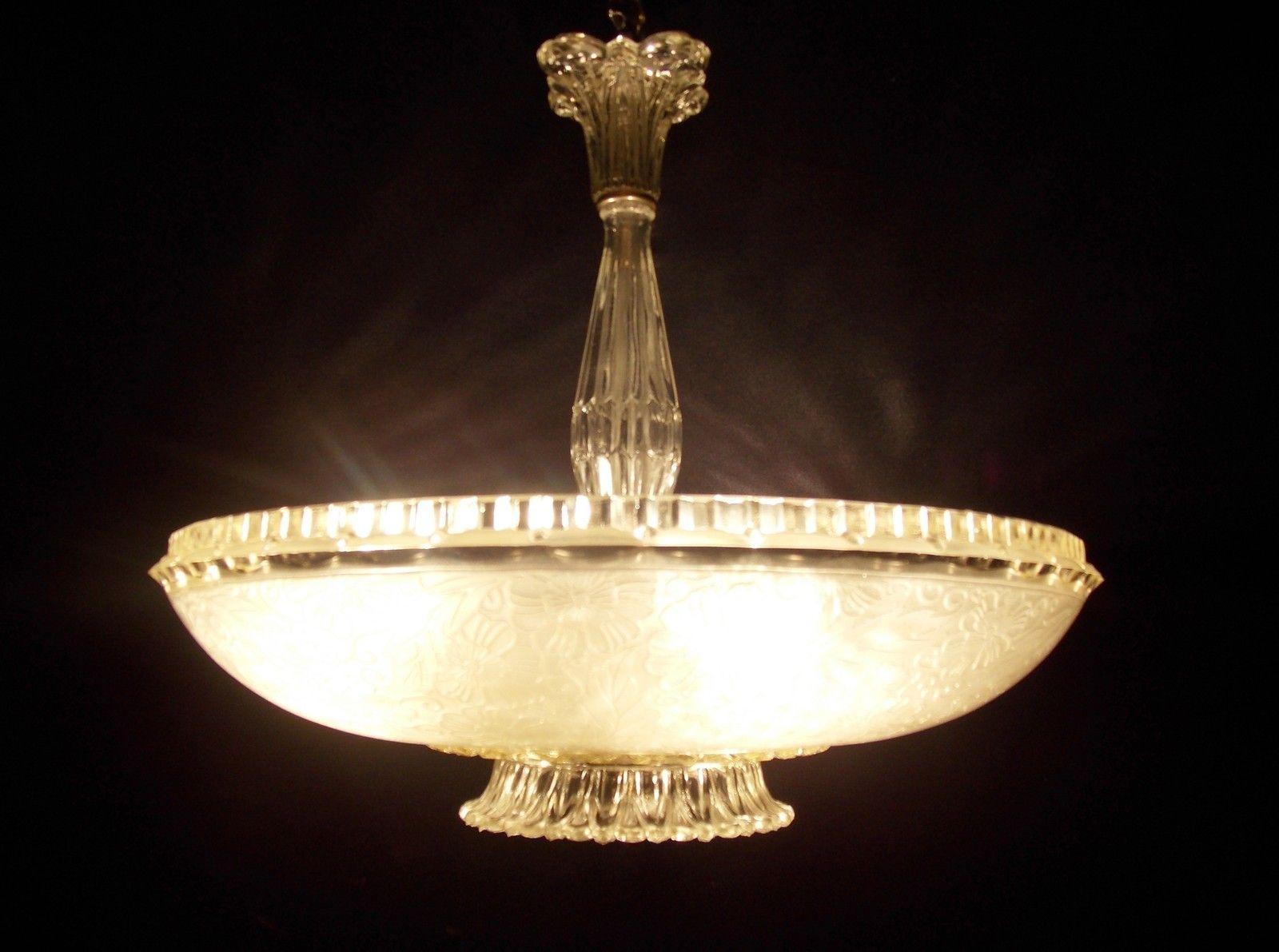 White 1940s art deco glass ceiling light fixture chandelier ebay white 1940s art deco glass ceiling light fixture chandelier ebay aloadofball Gallery