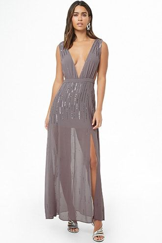 44214b15 Plunging Sequin Beaded Maxi Dress | Products | Pinterest | Dresses ...