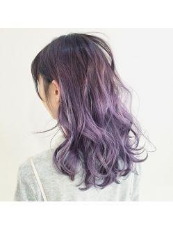 パープルラベンダー グラデーションカラー 紫 ヘアカラー パープル
