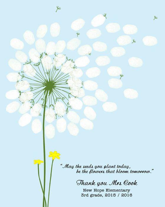 Teachers gift dandelion fingerprint classroom gift baby for Dandelion flowers and gifts