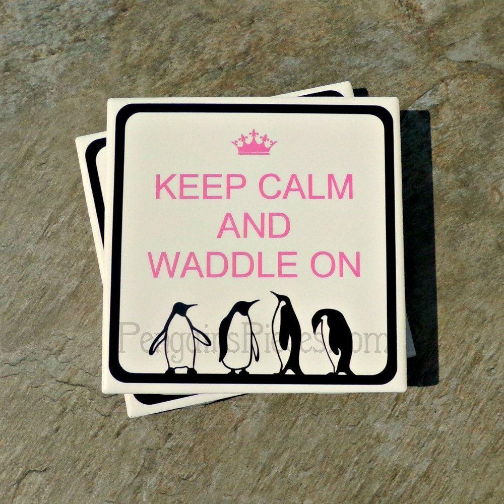 Personalized ceramic tile coasters keep calm penguin frame personalized ceramic tile coasters keep calm penguin frame house warming wedding party favors dailygadgetfo Choice Image