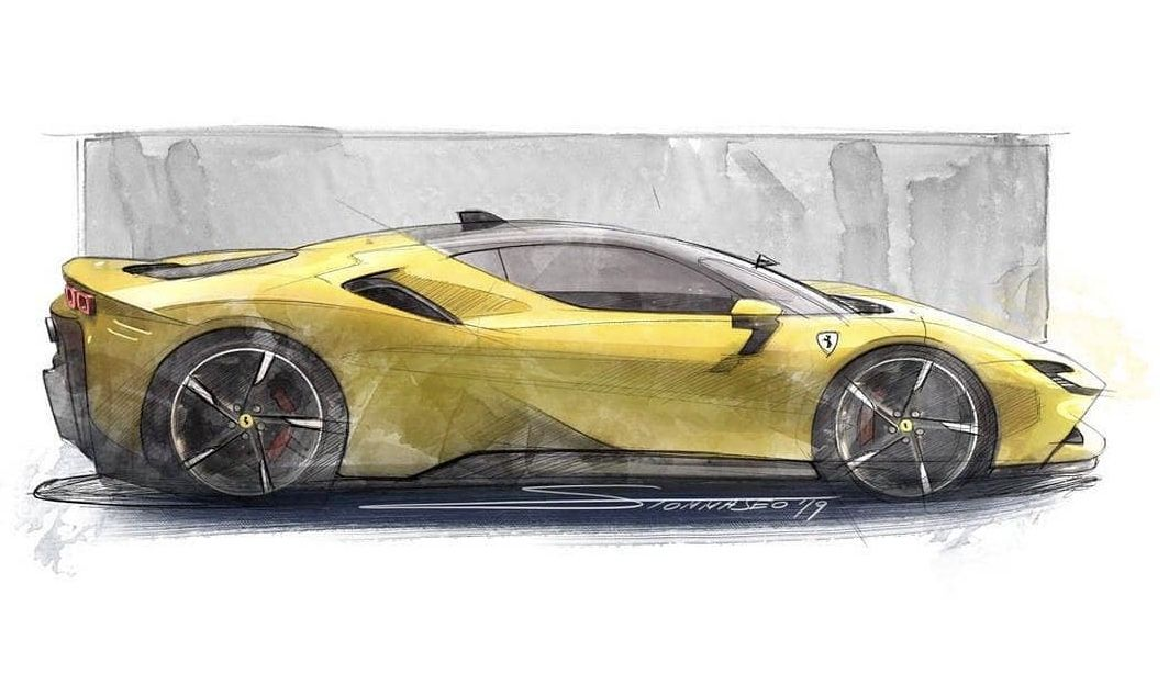 Ferrari Sf90 Car Sketch Ferrari Car