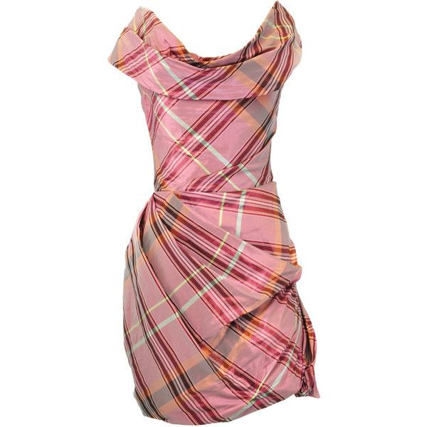 Pink Tartan Off-Shoulder Dress, Vivienne Westwood Anglomania, size ...