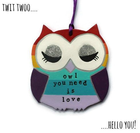 This beautiful and bright owl ornament has been designed and hand cut from clay. This chappies has been hand painted in rainbow colours upon request but can be made in any colour scheme and with any wording of your choice.  He measures 11 x 12 cm in size and can come with glitter at no extra cost. Please feel free to pop your design requests in the notes to seller section when ordering.  He really does make a precious little keepsake for any occasion and delivery is available worldwide…