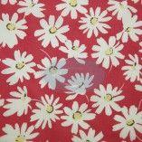 Tissu fleuri blanc fond rouge