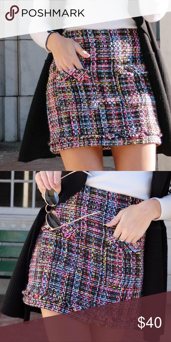 8ff42493 Tweed Multicolor Skirt Multicolor tweed mini skirt from Zara! Perfect  condition! Zara Skirts Mini