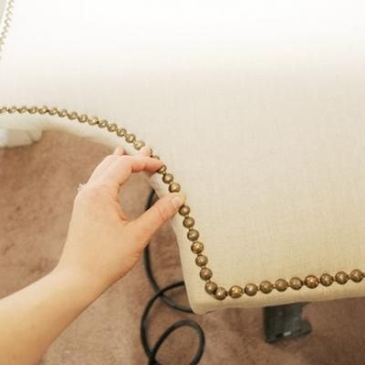 Nailhead Trim Upholstered Headboard Tutorial Bedding