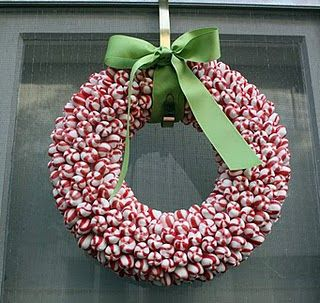 """* these are really simple to do. all you need is a glue gun, a foam wreath and hands made of asbestos. i think one made of lemon drops would be so adorable! --the peppermint wreath is 12"""" with a flat back. it took approximately 2 1/2 bags (1lb 9oz each) of Bob's Sweet Stripes. The back is not covered."""