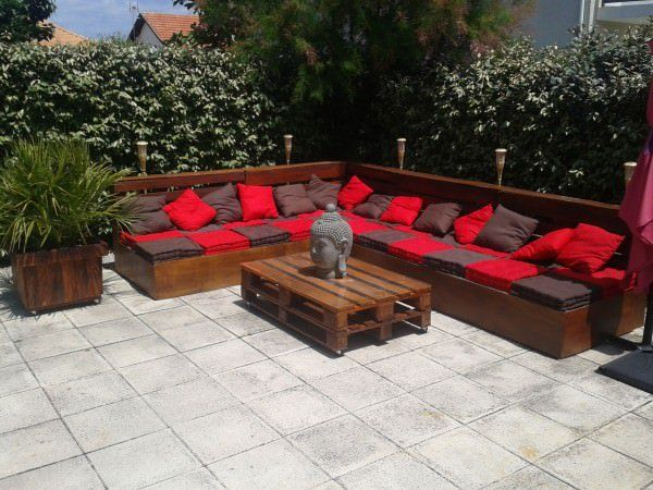 Complete Pallet Garden Lounge With Table Muebles Con Pallets