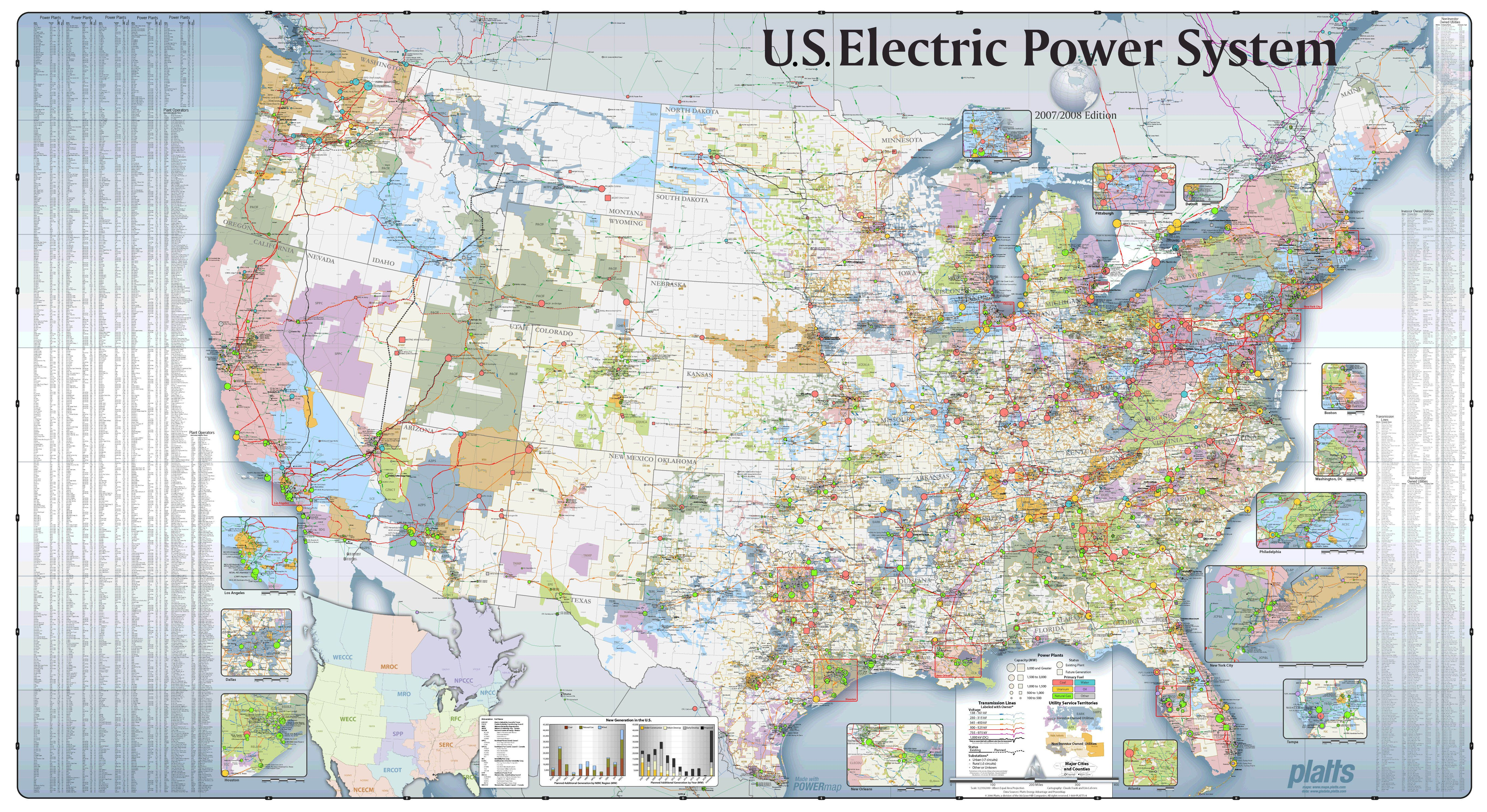 US-Electric-Power-System-Map | D | Electric power, Science, Grid