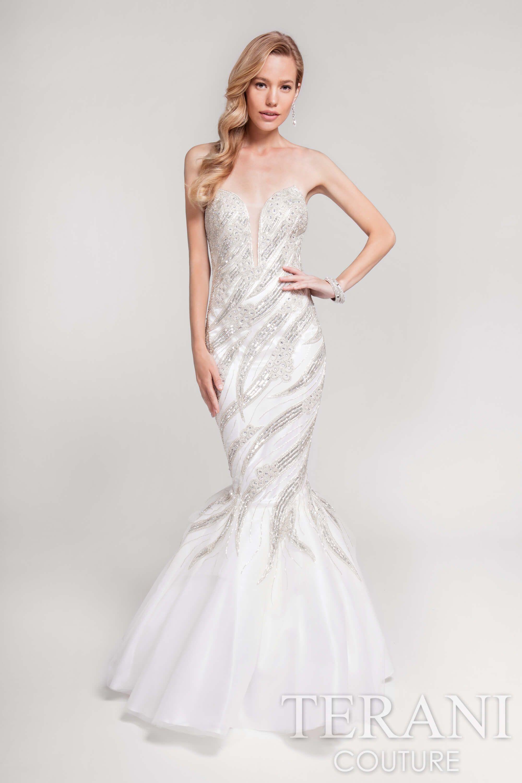 Terani Jeweled Strapless Prom Dress