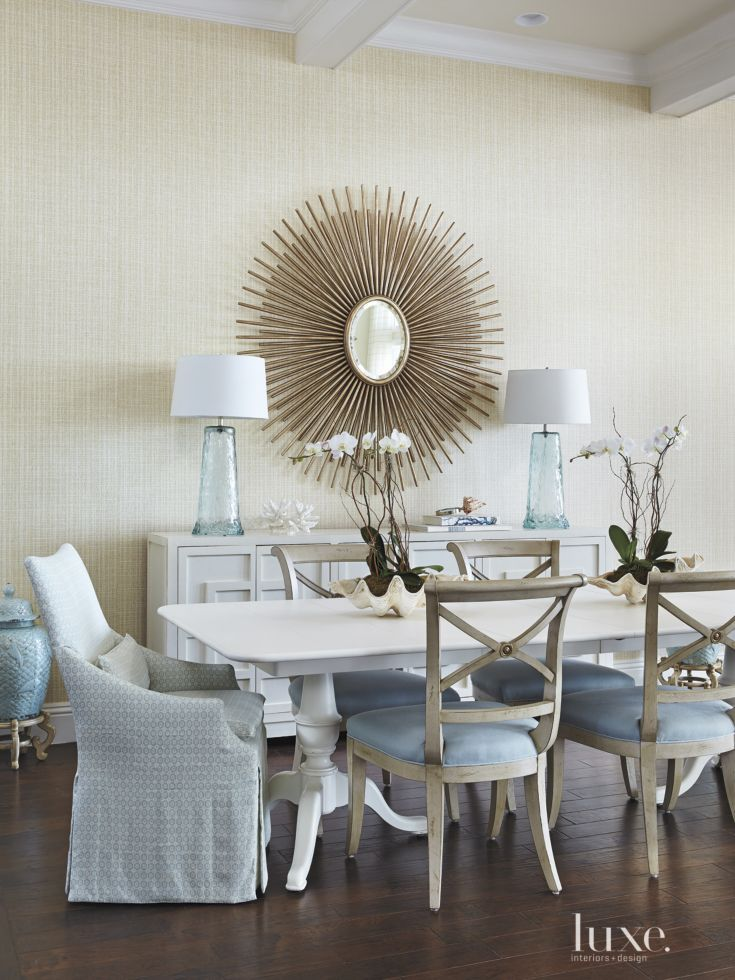Hickory White Side Chairs In A Romo Textile Surround A Somerset Impressive Dining Room Head Chairs Design Decoration