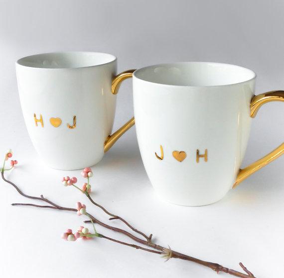 Wedding Gift Mugs: Pair Of Monogrammed White And Gold Mug, Anniversary