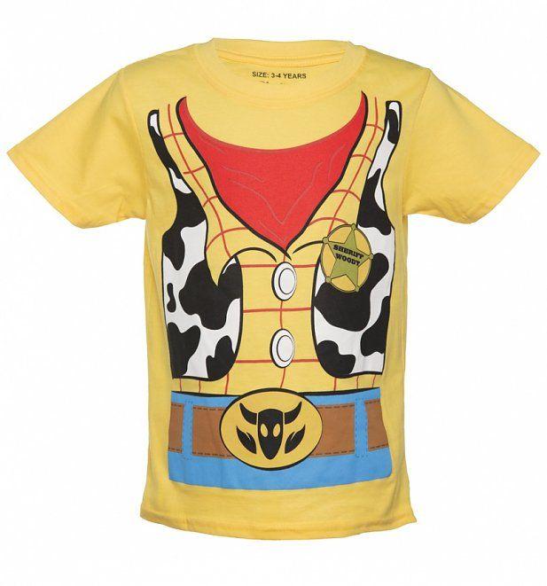 2ecbcf64 Kids Yellow Disney Pixar Toy Story Woody Costume T-Shirt | Halloween ...