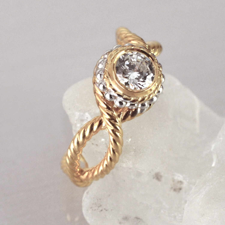 Twisted rope engagement ring vintage engagement ring bezel setting