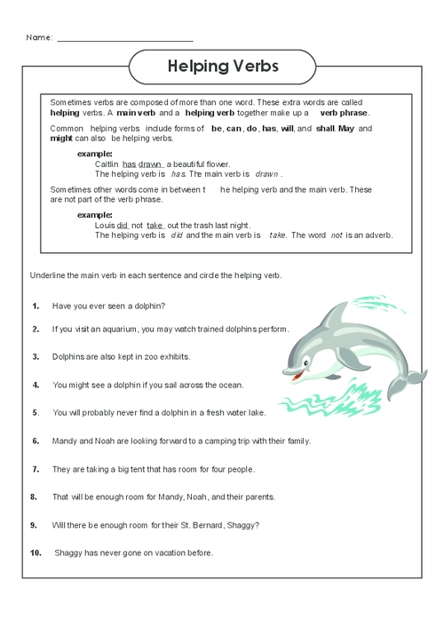 Continue to practice identifying main and helping verbs – Identifying Verbs Worksheet
