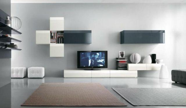 ensemble tv mural contemporain suspendu loudeac coloris blanc brillant et weng ensemble meuble tivi unit pinterest salons tvs and tv walls - Meuble Tv Contemporain Design Italien
