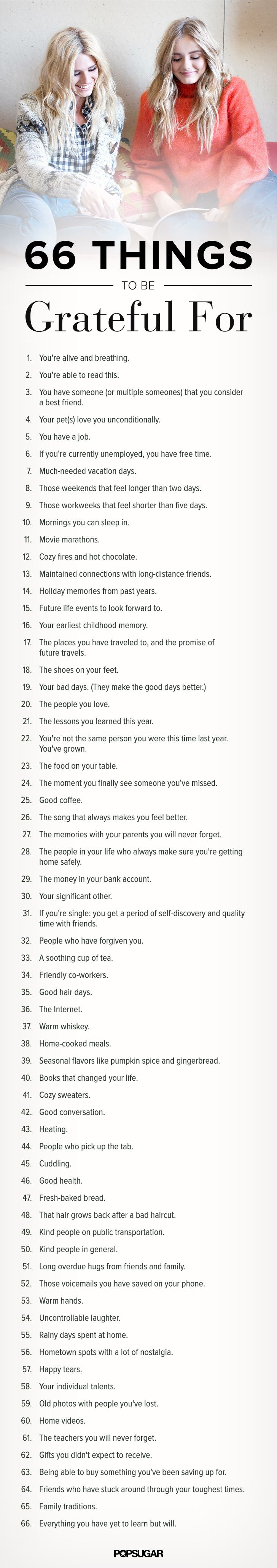 66 things to feel grateful for in your everyday life.
