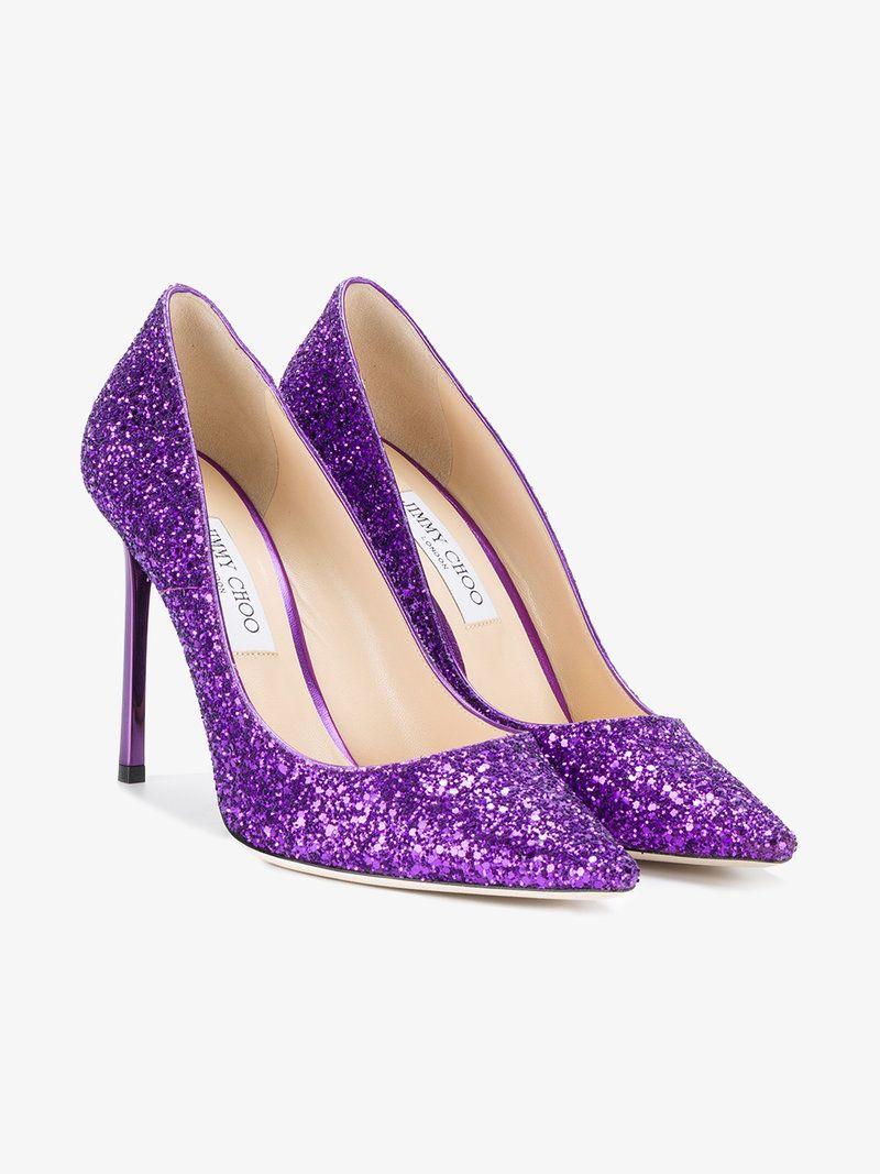 d9dd46177ea9 JIMMY CHOO PURPLE GLITTER ROMY 100 PUMPS. #jimmychoo #shoes #pumps ...