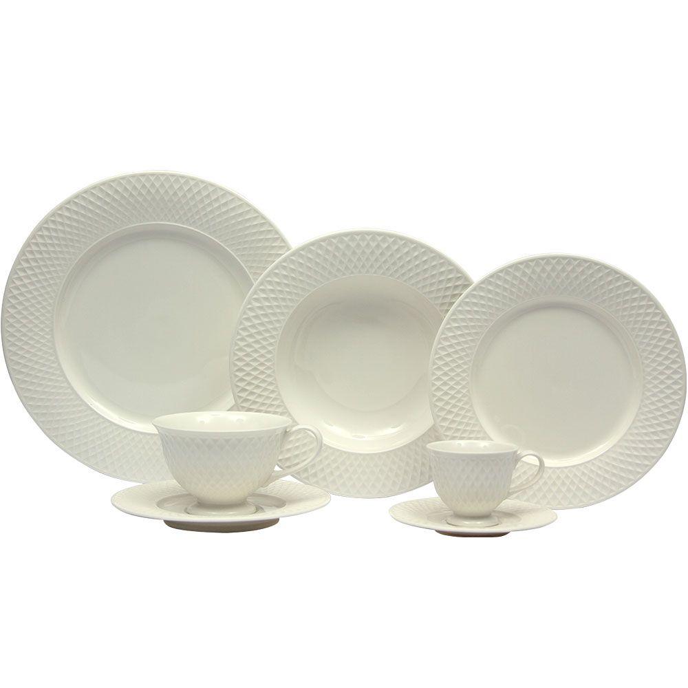 Aparelho De Jantar Chá E Café Eclat Branco 42 Peças Home Style