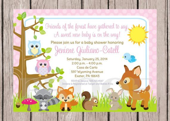 woodland animals baby shower invitations | printable- woodland, Baby shower invitations