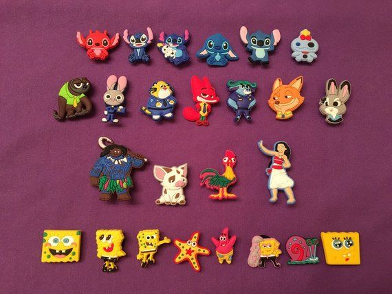 06f75d53c3 Shoe Charms for Crocs, Silicone Bracelet Charms, Party Favors, Jibbitz -  Moana, Zootopia, Lilo and
