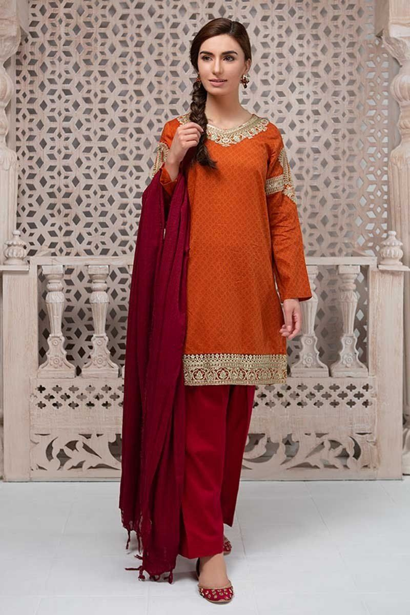 Pretty orange embroidered dress by maria b pakistani eid dress