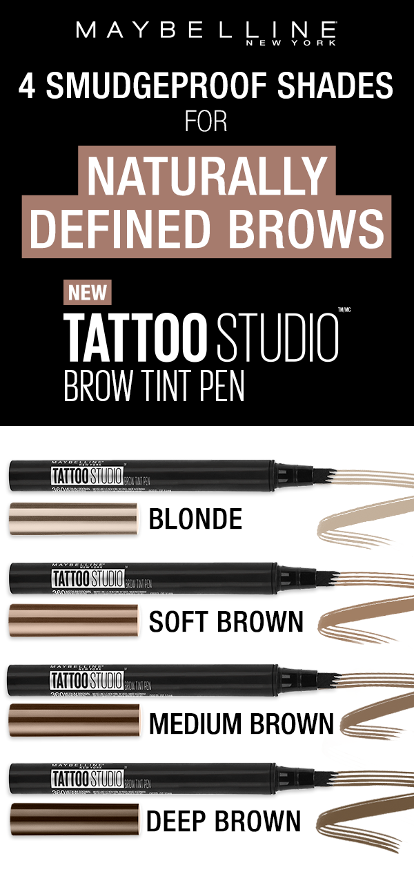 Our TattooStudio Brow Tint Pens are available in 4 smudge