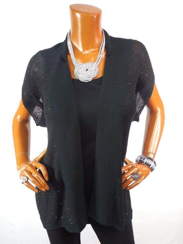 ANN TAYLOR LOFT Womens Top L Dressy Black Sequin Cardigan Blouse ...
