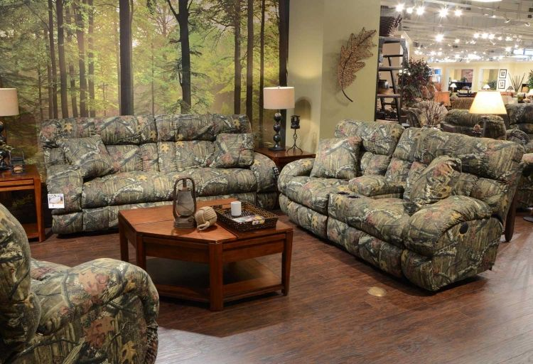 Duck Dynasty Appalachian Lay Flat Reclining Sofa Set Mossy Oak