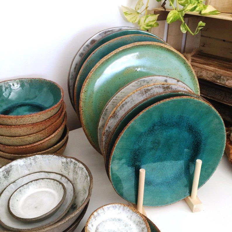 Rustic Dinnerware Set For 4 Handmade Pottery Set 4 8 12 Person Dinner Set Dinner Plates Ceramic Dessert Plates Ceramic Bowls