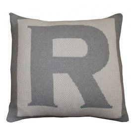 Add a personal touch to your sofa, bed, or window seat with this eco-friendly pillow cover.  Product: Pillow coverConstruction Material: 80% Recycled cotton and 20% acrylicColor: Pewter grey and ivoryFeatures: Single letter monogramDimensions: 18 x 18Note: Insert not includedCleaning and Care: Machine wash and dry on low