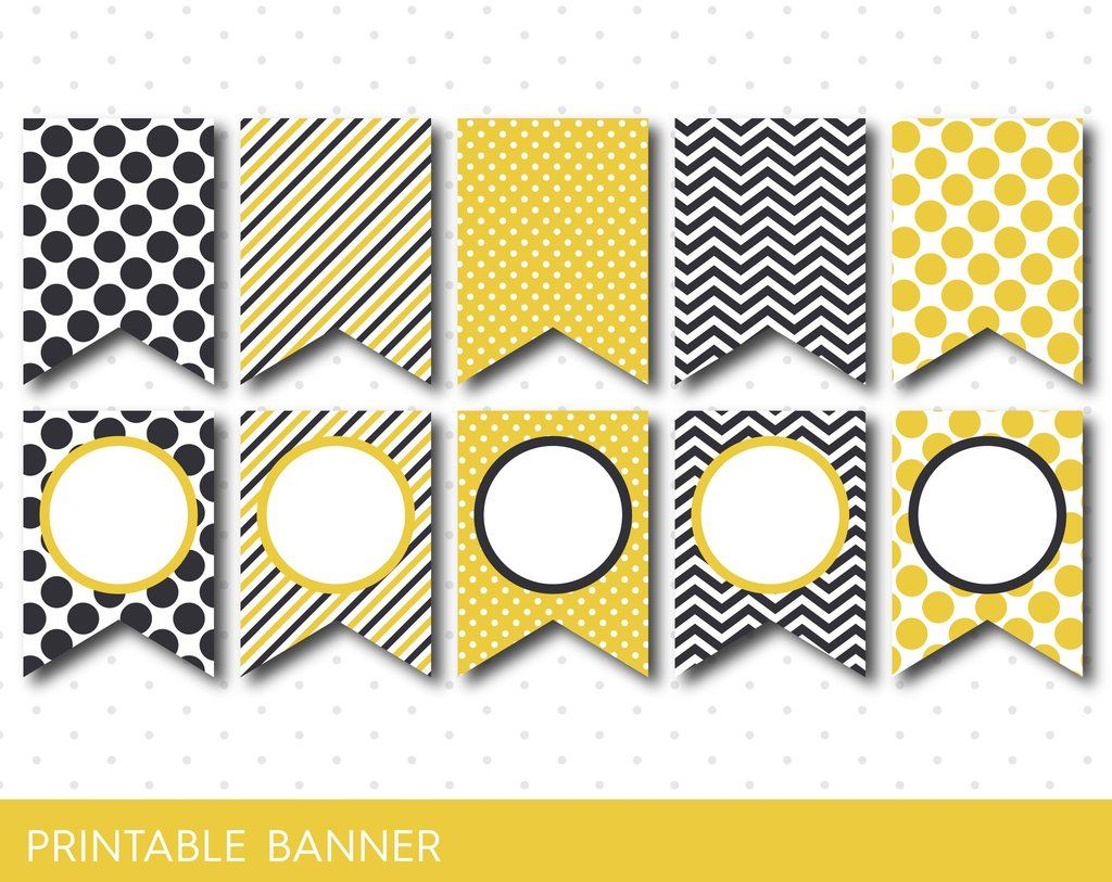Mustard yellow and light black DIY printable banner with chevron