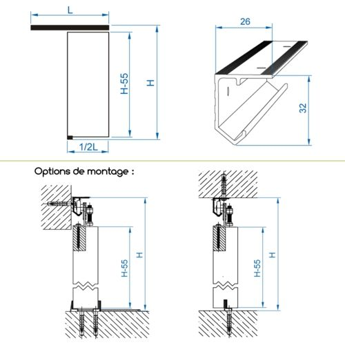 Système porte coulissante JUPITER pour 1 porte de séparation - rail - fixation rail porte coulissante